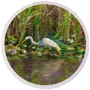 Round Beach Towel featuring the painting Everglades Hunter by David  Van Hulst