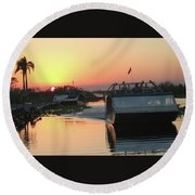 Everglades Sunset Round Beach Towel