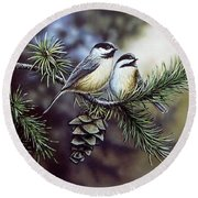 Evergreen Chickadees Round Beach Towel