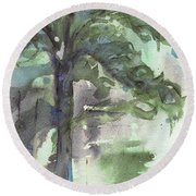 Round Beach Towel featuring the painting Evergreen by Dawn Derman