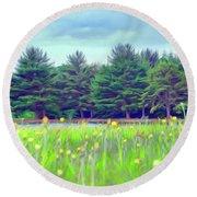 Evergreen Lake - Impressionism Round Beach Towel