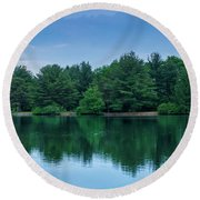 Evergreen Lake Reflections Round Beach Towel