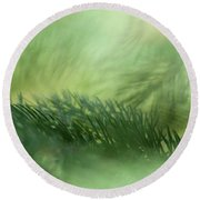 Round Beach Towel featuring the photograph Evergreen Mist by Ann Lauwers