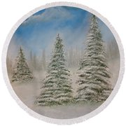 Evergreens In Snow  Round Beach Towel
