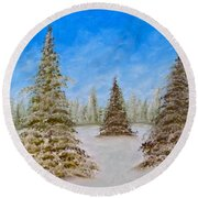 Evergreens In Snowy Field Enhanced Colors Round Beach Towel