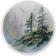 Evergreens In The Mist Round Beach Towel