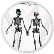 Everlasting Love Couple Skeleton Couple Round Beach Towel