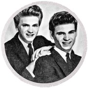 Everly Brothers, Music Legends By Js Round Beach Towel