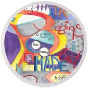 Round Beach Towel featuring the painting Every Dream Begins by Erin Fickert-Rowland