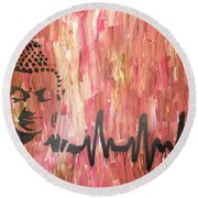 Round Beach Towel featuring the painting Everything Is Energy by Jayime Jean