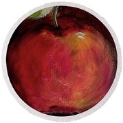 Round Beach Towel featuring the painting Eve's Apple.. by Jolanta Anna Karolska