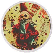 Evil Clown Doll On Playing Cards Round Beach Towel
