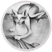 Evil Kitty With Beautiful Eyes Round Beach Towel