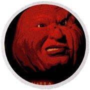 Evil Pumpkin Card Round Beach Towel