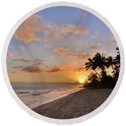 Ewa Beach Sunset 2 - Oahu Hawaii Round Beach Towel by Brian Harig