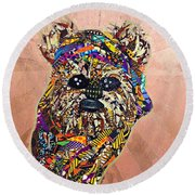 Round Beach Towel featuring the tapestry - textile Ewok Star Wars Afrofuturist Collection by Apanaki Temitayo M