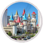 Excalibur Casino From The North 2 To 1 Ratio Round Beach Towel by Aloha Art
