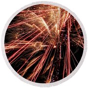 Round Beach Towel featuring the photograph Exciting Fireworks #0734 by Barbara Tristan