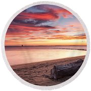 Round Beach Towel featuring the photograph Exhale by Edward Kreis