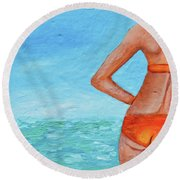 Exhale Softly Round Beach Towel by Donna Blackhall