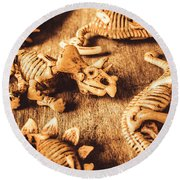 Exhibition In Prehistoric Art Round Beach Towel