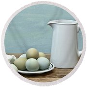Exotic Colored Eggs With Pitcher Round Beach Towel