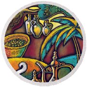 Round Beach Towel featuring the painting Exotic East, Coffee And Olive Oil by Leon Zernitsky