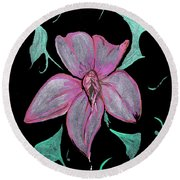 Round Beach Towel featuring the painting Exotic Flower by Tbone Oliver