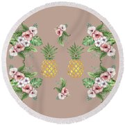 Round Beach Towel featuring the painting Exotic Hawaiian Flowers And Pineapple by Georgeta Blanaru
