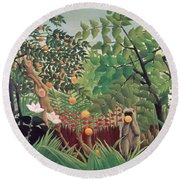 Exotic Landscape Round Beach Towel