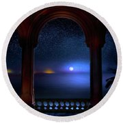 Round Beach Towel featuring the photograph Exotic Night by Mark Andrew Thomas
