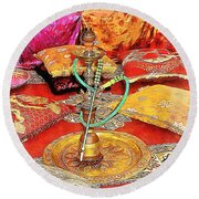 Exotic Oriental Hookah Pipe 2 Round Beach Towel
