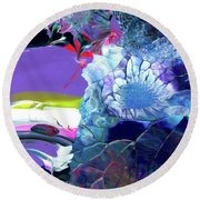 Exotic White Rose Island Round Beach Towel