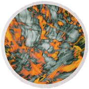Exploded Fall Leaf Abstract Round Beach Towel