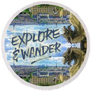 Explore And Wander Notre Dame Cathedral Gargoyle Paris Round Beach Towel