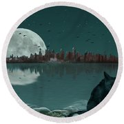 Explore By Moonlight Round Beach Towel