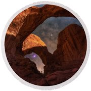 Round Beach Towel featuring the photograph Explore The Night by Darren White