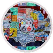 Explore The Usa License Plate Art And Map Travel Collage Round Beach Towel