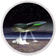 Explorers From Another World 4 Round Beach Towel