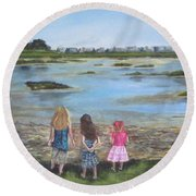 Exploring The Marshes Round Beach Towel