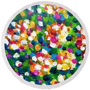 Round Beach Towel featuring the painting Explosion Of Colors by Cristina Stefan