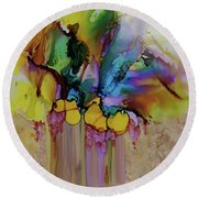 Round Beach Towel featuring the painting Explosion Of Petals by Joanne Smoley