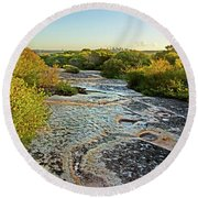 Round Beach Towel featuring the photograph Exposed Sandstone In North Head by Miroslava Jurcik