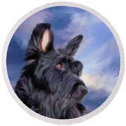 Expression Is Everything Scottish Terrier Dog Round Beach Towel