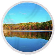 Round Beach Towel featuring the photograph Expressionalism Autumn Pond by Aimee L Maher Photography and Art Visit ALMGallerydotcom