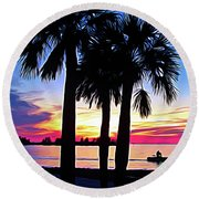 Round Beach Towel featuring the photograph Expressionalism Beach Sunset by Aimee L Maher Photography and Art Visit ALMGallerydotcom