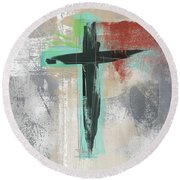 Expressionist Cross 3- Art By Linda Woods Round Beach Towel