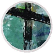 Expressionist Cross 8- Art By Linda Woods Round Beach Towel