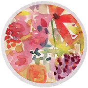 Expressionist Fall Garden- Art By Linda Woods Round Beach Towel