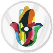 Round Beach Towel featuring the mixed media Expressionist Hamsa- Art By Linda Woods by Linda Woods